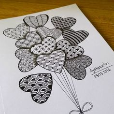 Throwback a picture from two years ago. . Tangled balloons of love. . . . #drawing #doodle #doodleart #zentangle #zentangleart #zendoodle…