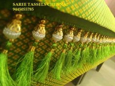 tassels for saree Saree Tassels Designs, Saree Kuchu Designs, Saree Blouse Neck Designs, Blouse Patterns, Sewing Patterns, Saree Accessories, Saree Border, Indian Beauty Saree, Hand Embroidery Designs