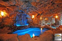 This is actually a pool that is inside a man made cave in a backyard. Love it.
