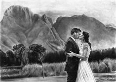 Title: Wedding Kiss Medium: Graphite Pencils on 300gsm Aqua Paper Size: 42 x 59.4cm  Brand Pencils: Gretacolour. Photo Reference supplied by Customer. Photographer: Lauren Kriedemann Photography Location: Boschendal Wedding Kiss, Photo Reference, Paper Size, Graphite, Pencil Drawings, Aqua, Medium, Photography, Painting