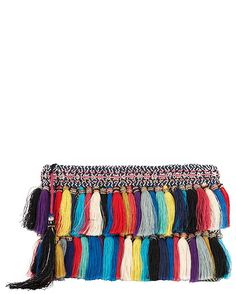 Christophe Sauvat Rainbow Cotton Tassel Fringe Clutch: A rainbow of color and a mix of tasseled fringe gives this clutch its boho chic style. Topline zip closure. Measures: 11 by 7 1/2 . Fabric: 63% cotton/35% acrylic/2% lurex Lining: 100% cotton Made in ...