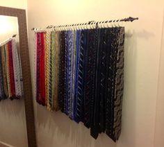 Tie Rack for all the hubby's ties, no excuses for messy ties! Master Closet, Closet Bedroom, Closet Space, Tie Storage, Scarf Storage, Storage Ideas, Tie Organization, Tie Rack, Zeina