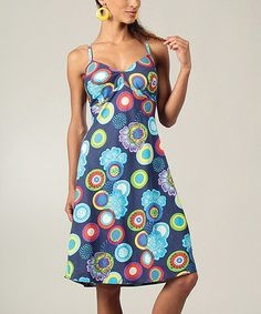 Look at this #zulilyfind! Blue & Turquoise Geometric Midi Dress #zulilyfinds