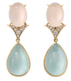Faraone Mennella Cabochon collection earrings in Aquamarine, Rose Quartz and White Diamonds set in 18Kt Yellow Gold
