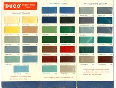 Duco colour card- Duco was a trade name assigned to a product line of automotive lacquer developed by the DuPont Company in the 1920s. Under the Duco brand, DuPont introduced the first quick drying multi-color line of nitrocellulose lacquers made especially for the automotive industry. 'Duco' is still used as an Australian colloquialism for automotive paint.