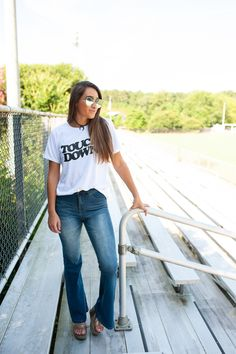 Touch down shirt Game Day T-shirt Baseball Tees, Football Shirts, Game Day Shirts, Heather Black, American Apparel, Vintage Black, Down Shirt, Mom Jeans, T Shirts For Women