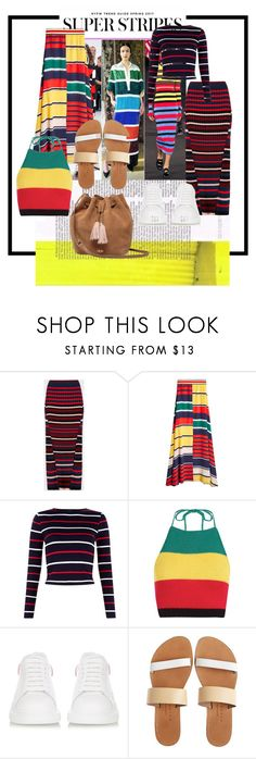 """""""Top 10 Trends: Stripes"""" by lupeobera ❤ liked on Polyvore featuring Boohoo, Alexander McQueen, Isapera, UGG, StreetStyle, NYFW, stripes and trend"""