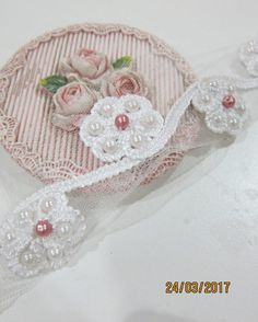 1 Yard- Beaded Flower Applique Lace /SFL016-Bridal Beaded Lace/Embroided Beaded Lace/