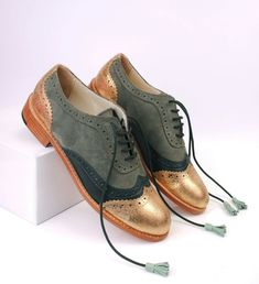 Original ABO brogues verde y dorados oxford