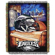 NFL Eagles Throw Blanket 48x60 Football Themed Bedding Sports Patterned Team Logo Fan Merchandise Athletic Team Spirit Fan Midnight Green Black Silver Polyester