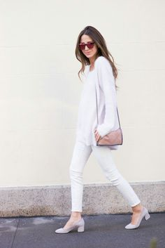 "4d420270af fashion-clue  ""justthedesign  ""Arielle Nachami is wearing white jeans from  AG"