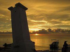 puerto Morelos sunrise beach with leaning iconic lighthouse Puerto Morelos, Riviera Maya, Sunsets, Lighthouse, Sunrise, Scene, Beach, Color, Beach Sunrise