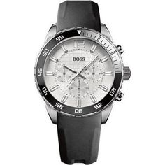 BOSS HUGO BOSS 'Iconic' Chronograph Sport Watch, Three chronograph eyes detail the gridded dial of a modern sports watch designed with a numbered rotating bezel and a rubber-coated leather strap. Hugo Boss Watches, Brand Name Watches, Sport Watches, Cheap Watches For Men, Mens Watches For Sale, Cool Watches, Wrist Watches, Mens Watch Brands, Hugo Boss Man