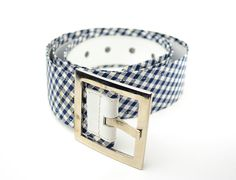 Blue and White Mid Century Men's Belt  Plaid  by BrooklynFrock, $29.00