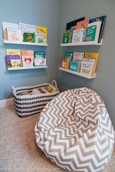 Reading corner, beanbag, bookshelves, toy storage