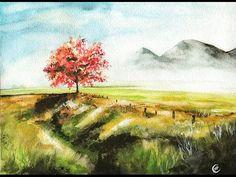 Watercolor Red Oak Tree SHORT SPEED Video Painting Demonstration