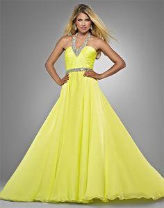 Lindo Vestido de Fiesta de Color Amarillo