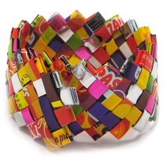 """Ecoist """"Confetti"""" Cuff Bracelet. Big style comes in small packages. Handmade from recycled candy wrappers, soda labels, food packages and fair trade just like their larger handbag counterparts, Ecoist bracelets are the ultimate in eco chic."""