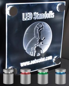 Outwater now offers its extremely popular LED Standoffs for Signage and Displays with Red, Green and Blue lighting options in conjunction with its original White lit format.