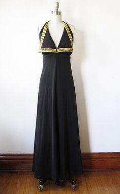vintage 70s sailor dress / black gold halter by RustBeltThreads, $145.00
