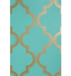 Turquoise Mediterranean wallpaper by Urban Outfitters Gold Wallpaper, Fabric Wallpaper, Print Wallpaper, Mediterranean Wallpaper, New Blue, My Dream Home, Polyvore, Sweet Home, Design Inspiration