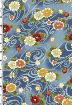 Kona Bay Hana Bashi multi coloured blossom over water £3.00 per Fat Quarter