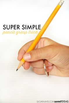 Pencil Grasp Trick from Fine Motor Skills ABC Activities Super simple pencil grasp trick using a keychain keyring loop that works to… Fine Motor Activities For Kids, Abc Activities, Motor Skills Activities, Gross Motor Skills, Therapy Activities, Pre Writing, Writing Skills, Pencil Writing, Handwriting Activities