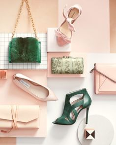 Add a touch of color to your bridal look with these pink and green accessories.