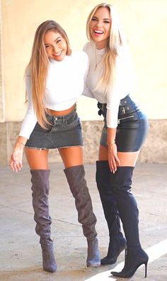 Denim Skirt Outfits, Hot Outfits, Fall Outfits, Sexy Older Women, Sexy Women, Leder Outfits, Sexy Boots, Thigh High Boots, Girls Wear