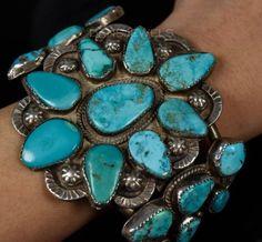 HUGE-SOLID-Vintage-Old-Pawn-Navajo-Kingman-Turquoise-Sterling-Mens-Bracelet