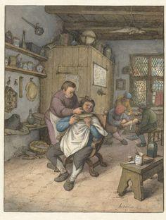 Een barbierswinkel, Adriaen van Ostade, 1673