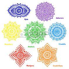 Set of 7 chakras. Isolated set of beautiful ornamental 7 chakras. 7 Chakras, Chakra Symbole, Mandala Arm Tattoo, Colorful Mandala Tattoo, Chakra Meanings, Mudras, Chakra Meditation, Meditation Art, Flower Mandala