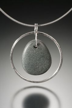 Circle Stone Necklace w/Pear shaped beach stone