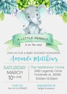 Elephant Succulents Baby Shower Invitation
