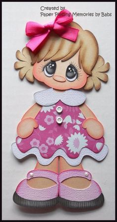 Girl Premade Paper Piecing Die Cut Embellishment for Scrapbook Page by Babs Scrapbook Patterns, Scrapbook Pages, Scrapbooking, Foam Crafts, Paper Crafts, Doll Face Paint, Fall Coloring Pages, Decorate Notebook, Lol Dolls