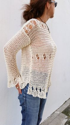 Fresh cotton loose sweater, hand knitted cream sweater por EstherTg