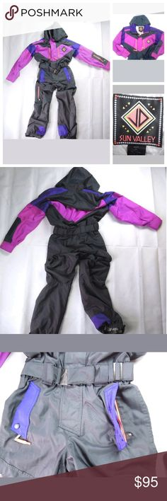 "Vintage 80s 90s Sun Valley One Piece Ski Snow Suit Size 38 Approximate measurements (taken with snowsuit lying flat): Chest (armpit to armpit, all the way around): 42"" Waist (taken at belt level, all the way around): 30""  Total Length (top of shoulder to bottom of pant leg): 61""   Leg Inseam Length: 30""  Features: Zip & Velcro front Adjustable waist belt 2 pockets at hip, 1 pocket on right leg, 1 pocket on left arm, 2 pockets on chest Hooded Sun Valley Other"
