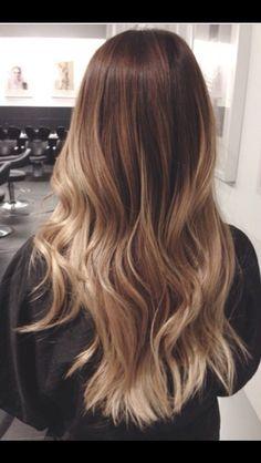 Dark blonde hair. Butternut blonde ombré style