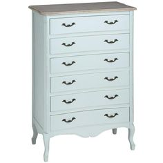 Duck Egg Blue six drawer large chest - White intimacy