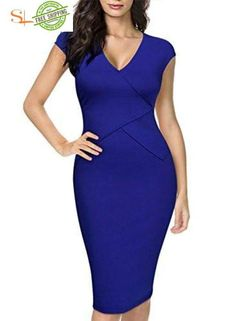 Sainaluv - Miusol Womens Official V Neck Crossover Design Cap Sleeve Fitted Pencil Dress – sainaluv Dresses For Teens, Dresses For Work, Stylish Outfits, Cool Outfits, Sexy Outfits, Church Fashion, Business Casual Attire, Girl Fashion, Fashion Outfits