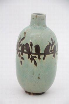 vaso ceramica passaros