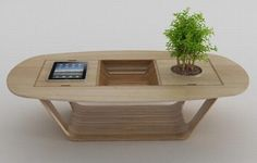 Bonsai Wood Coffee Table With Integrated iPad Module | Blog | ZiggyTek
