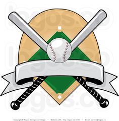 Baseball Clipart Image: Baseball Logo Graphic with a Baseball Diamond, and Baseball Bats Covered by a Banner Baseball Crafts, Baseball Party, Baseball Field, Baseball Stuff, Baseball Scrapbook, Wood Carving Patterns, Kids Birthday Cards, Teacher Appreciation Week, Masculine Cards