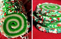 Christmas swirl cookies...using this cookie idea, but my husband's great grandma's recipe!  With edible glitter from another post.