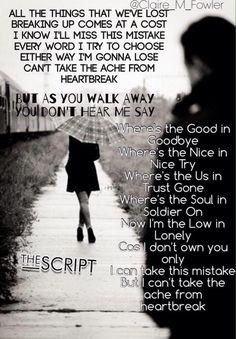The Script - No Good in goodbye Lyric Art, Lyric Quotes, Music Lyrics, Music Songs, Good In Goodbye Lyrics, Cancer Personality, Beautiful Lyrics, The Script, Soundtrack To My Life
