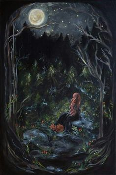 A Life of Fairy Tales — dreamsinthyme: A Bright Night Art And Illustration, Fantasy Kunst, Fantasy Art, Witch Art, Moon Art, Oeuvre D'art, Magick, Wicca, Faeries