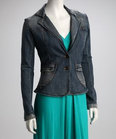Take a look at this Blue Notch Collar Denim Jacket by Dollhouse on #zulily today!