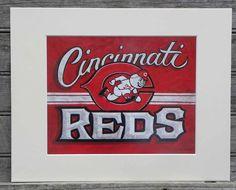 Cincinnati Reds  baseball  Print with MATart by ZekesAntiqueSigns, $15.00