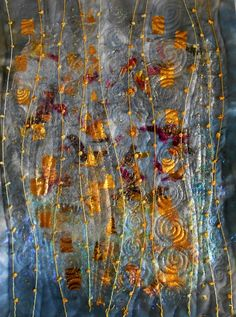 Hint of Klimt - Art Quilt made with Angelina fibres, thread and foils by Angela, Cheadle, Cheshire, United Kingdom ~☆~