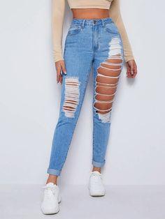 Estilo Denim, Latest Jeans, Skinny Waist, Rolled Hem, Ripped Skinny Jeans, Denim Fashion, Fashion News, Mom Jeans, Pants For Women